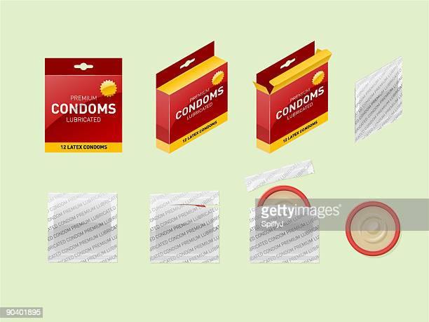 condoms (vector) - condom box stock illustrations