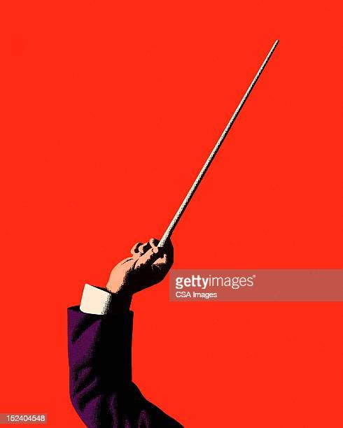 conductor holding baton - orchestra stock illustrations