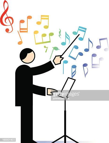 ilustraciones, imágenes clip art, dibujos animados e iconos de stock de conductor - director de orquesta