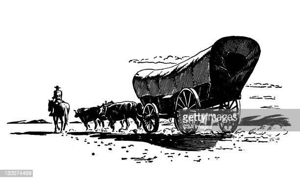 conestoga wagon - pferdeantrieb stock-grafiken, -clipart, -cartoons und -symbole