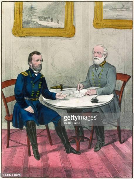 confederate general robert e. lee surrenders - confederate army stock illustrations