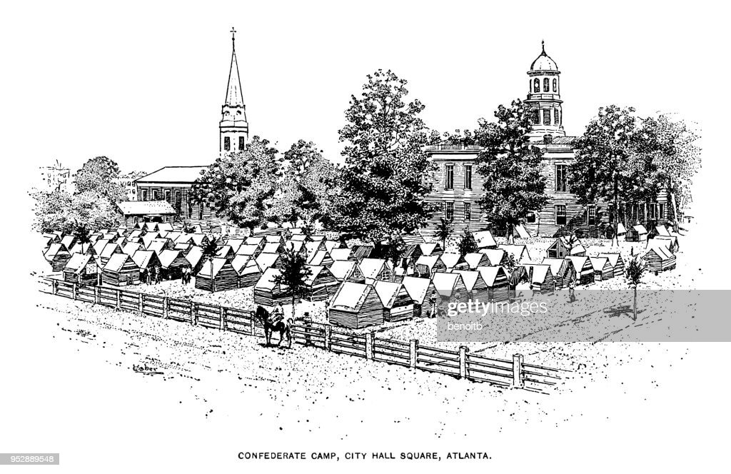 Confederate states army camp in Atlanta : stock illustration
