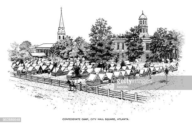 ilustrações, clipart, desenhos animados e ícones de acampamento do exército dos estados confederados em atlanta - atlanta