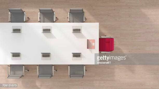 conference room with one chair and laptop standing out from the crowd, 3d rendering - no people stock illustrations