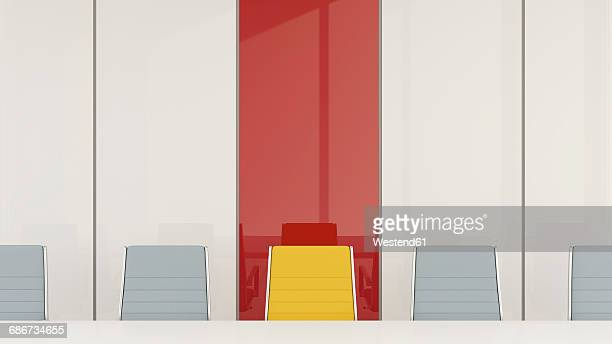 conference room with one chair standing out from the crowd, 3d rendering - conference table stock illustrations, clip art, cartoons, & icons