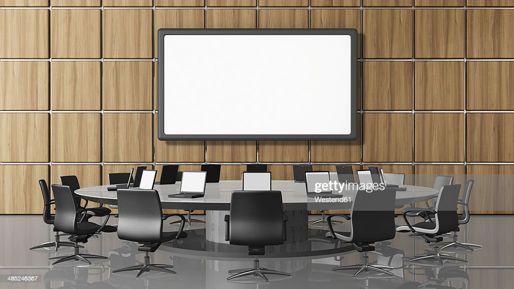 Conference room with projection screen, illustration : stock illustration