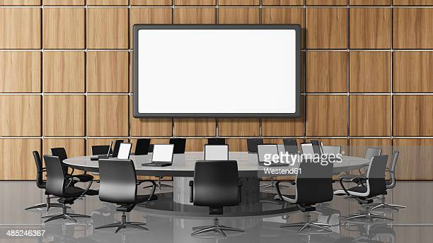 Conference room with projection screen, illustration