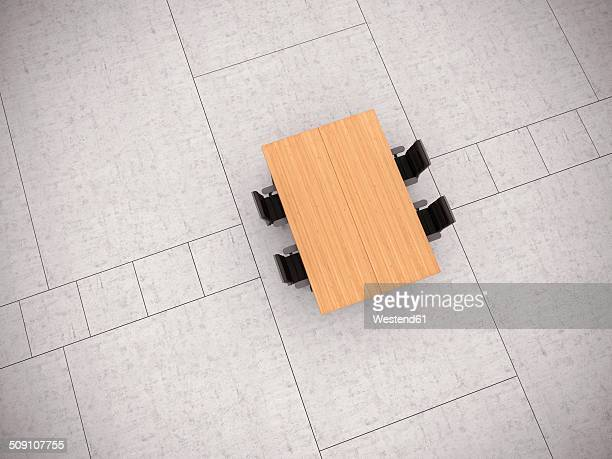 conference table and four office chairs on concrete floor, 3d rendering - angle stock illustrations