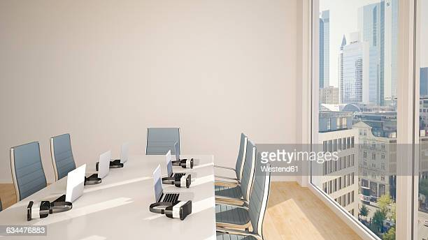 Conference table with virtual reality glasses, 3D Rendering