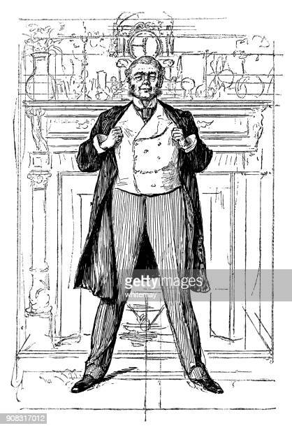 confident victorian gentleman standing in front of his fireplace - waistcoat stock illustrations, clip art, cartoons, & icons