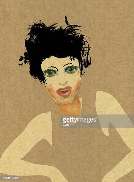 confident young woman - fine art portrait stock illustrations, clip art, cartoons, & icons
