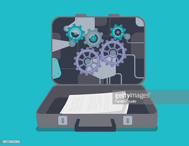 confidential documents in briefcase - co ordination stock illustrations