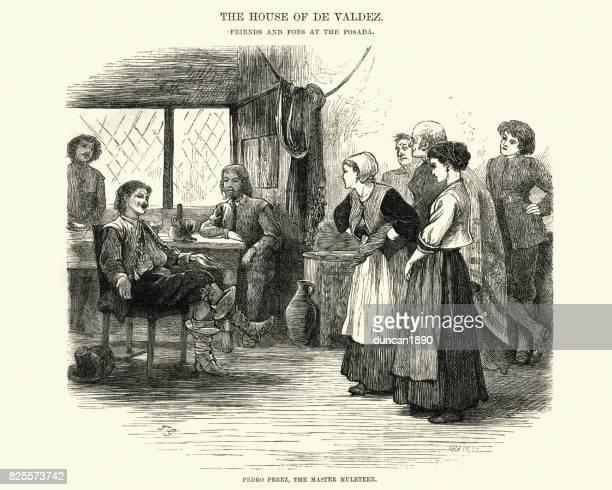 Confrontation between men and woman at a spanish Posada