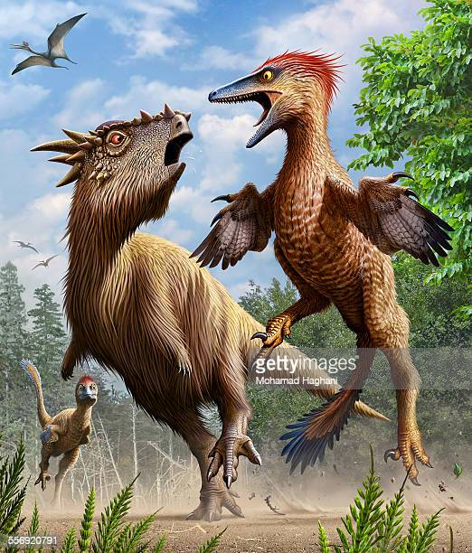 Confrontation between Pectinodon bakkeri and a Stygimoloch from the Late Cretaceous period.