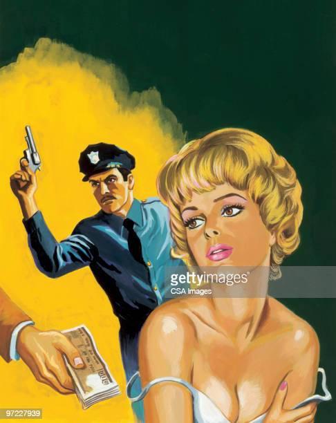 ilustraciones, imágenes clip art, dibujos animados e iconos de stock de confrontation - prostituta