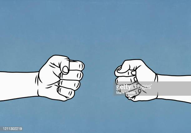 confrontational hands forming fists - fist stock illustrations