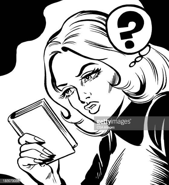 confused blonde woman - beautiful woman stock illustrations