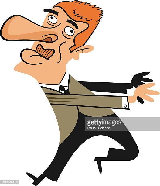 ilustrações de stock, clip art, desenhos animados e ícones de a confused man trying to go in two different directions - buchinho