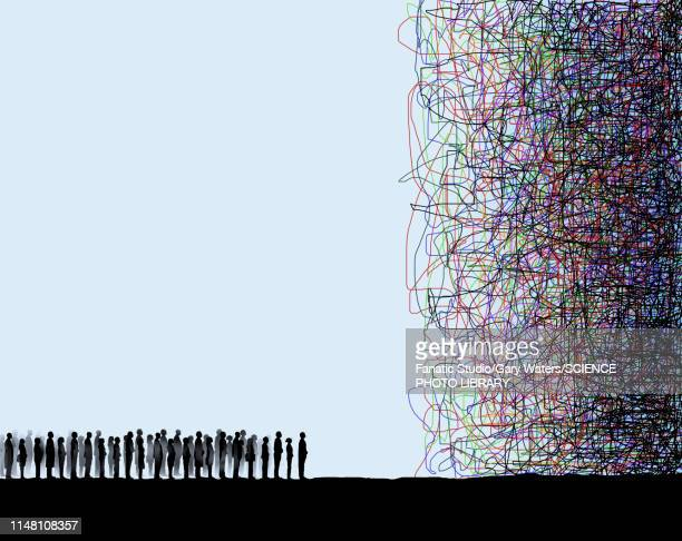 confused population, conceptual illustration - crisis stock illustrations
