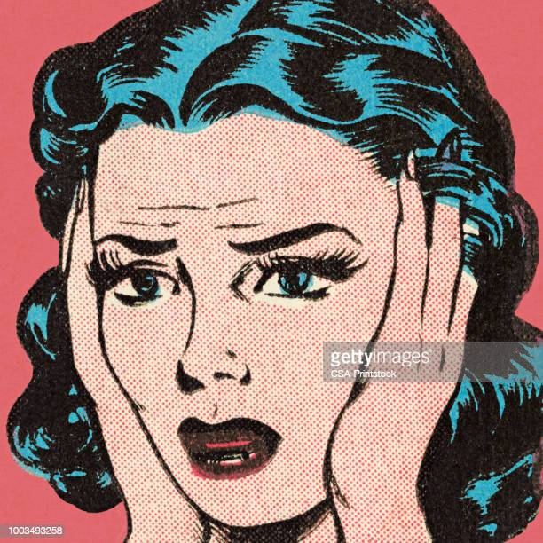 confused woman - humor stock illustrations