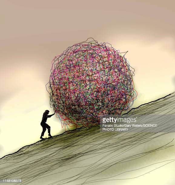 confusion, conceptual illustration - tangled stock illustrations