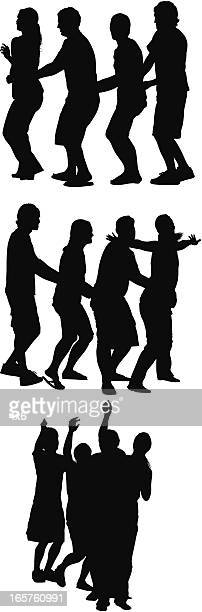 conga line dancing people - conga dancing stock illustrations, clip art, cartoons, & icons