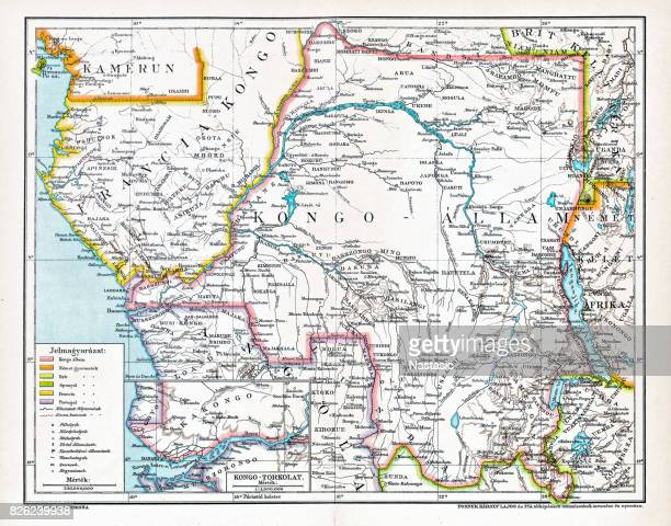 congo map ,central africa from 1895 - west africa stock illustrations, clip art, cartoons, & icons