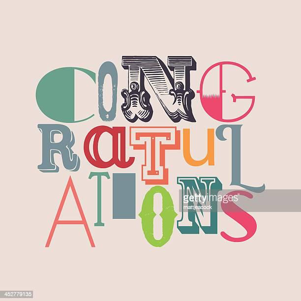ilustraciones, imágenes clip art, dibujos animados e iconos de stock de ¡felicitaciones - felicitar
