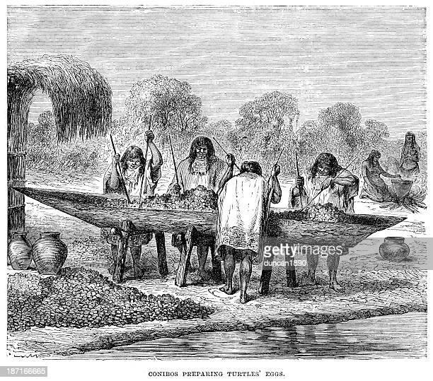 conibos native americans - river amazon stock illustrations