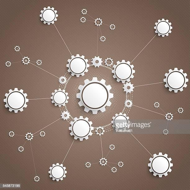 illustrazioni stock, clip art, cartoni animati e icone di tendenza di connected gears, vector illustration - al centro