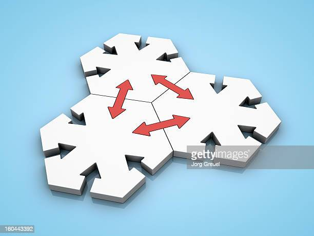 connected hexagons - ideas stock illustrations