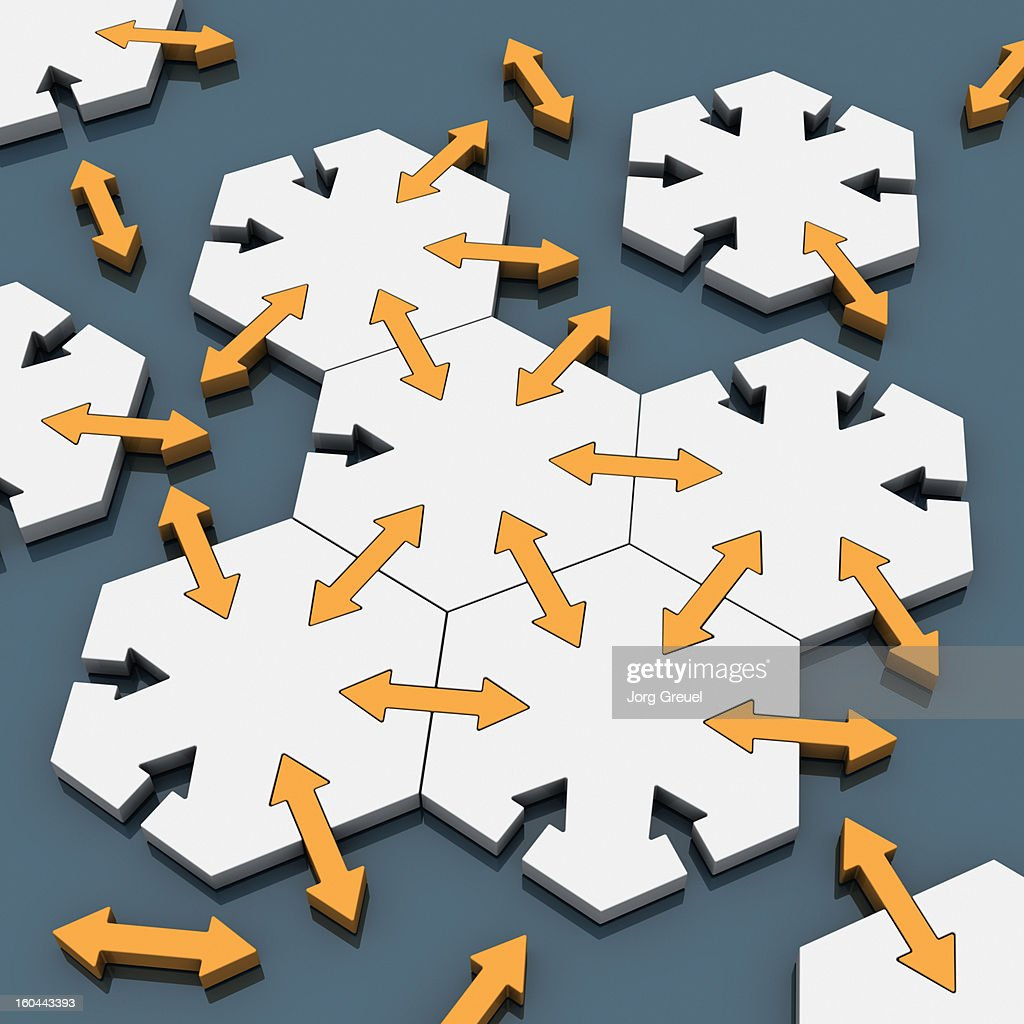 Connected hexagons : stock illustration