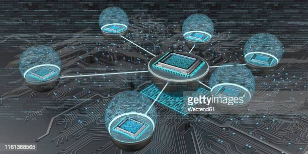 connected microchips with circuit diagram, 3d illustration - social media stock illustrations