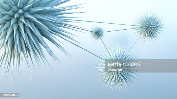 connected spiky spheres, 3d rendering - micro organism stock illustrations, clip art, cartoons, & icons