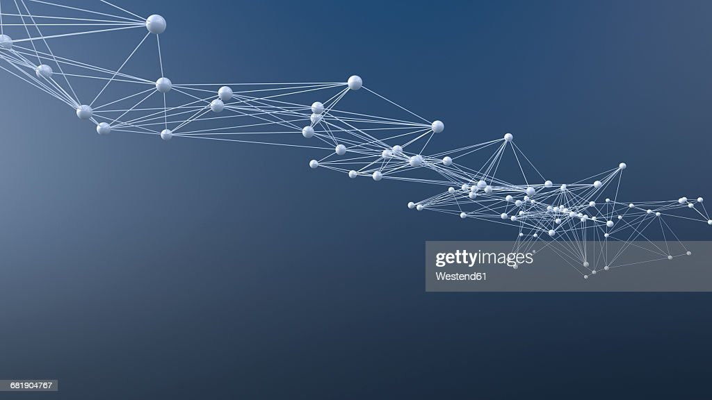 Connected structure of lines and spheres : stock illustration