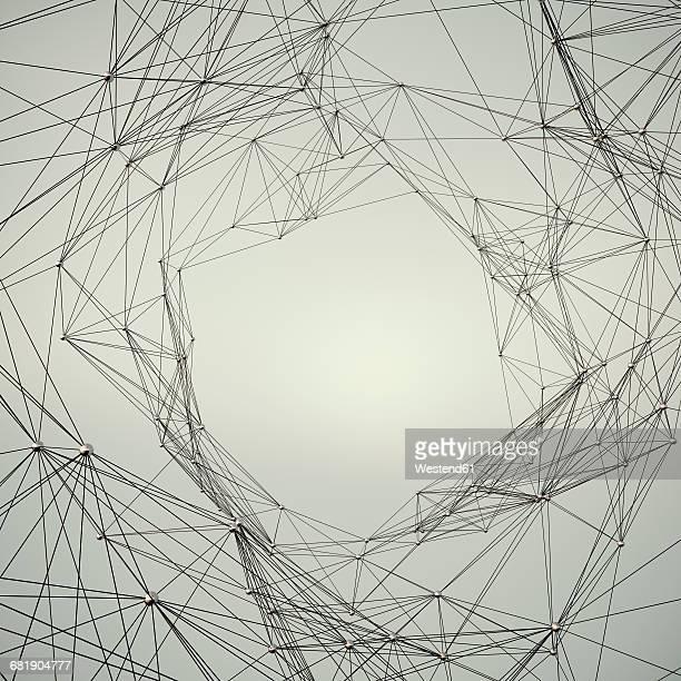illustrazioni stock, clip art, cartoni animati e icone di tendenza di connected structure of lines and spheres - al centro