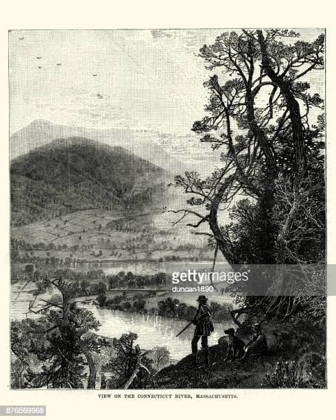 connecticut river, massachusetts, 19th century - connecticut river stock illustrations, clip art, cartoons, & icons