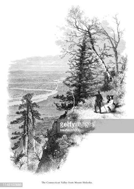 connecticut valley from mount holyoke, connecticut river, valley of the connecticut, massachusetts, united states, american victorian engraving, 1872 - connecticut river stock illustrations, clip art, cartoons, & icons