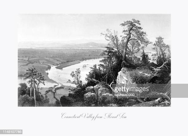 connecticut valley from mount tom, connecticut river, valley of the connecticut, massachusetts, united states, american victorian engraving, 1872 - connecticut river stock illustrations, clip art, cartoons, & icons