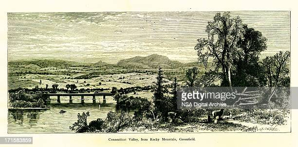 connecticut valley, usa | historic american illustrations - connecticut river stock illustrations, clip art, cartoons, & icons