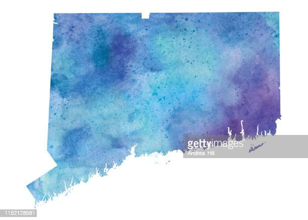 コネチカット州水彩画ラスタマップイラスト - コネチカット州点のイラスト素材/クリップアート素材/マンガ素材/アイコン素材