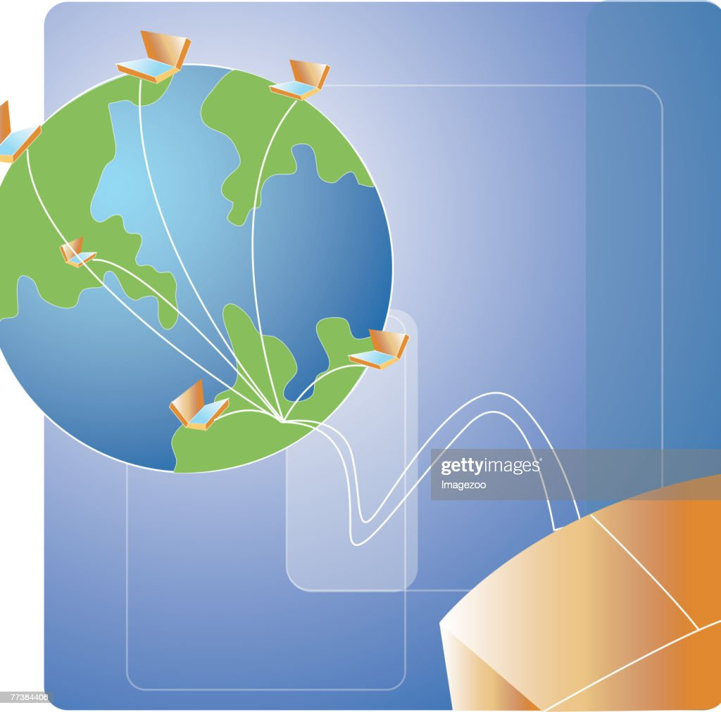 Connecting to computers all over the world : stock illustration