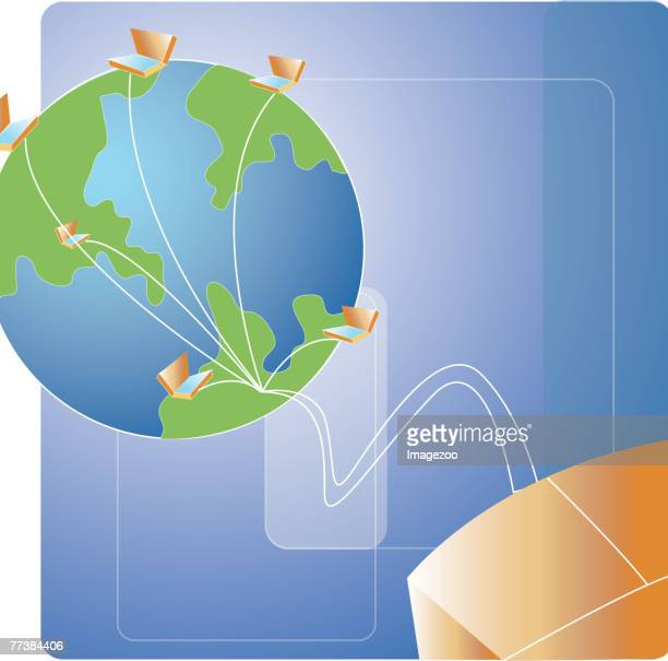 connecting to computers all over the world - online advertising stock illustrations, clip art, cartoons, & icons