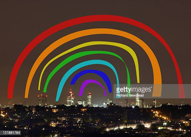 connection rainbow over london - outdoors stock illustrations