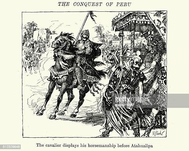 conquest of peru - conquistador before atahuallpa - cavalier cavalry stock illustrations, clip art, cartoons, & icons
