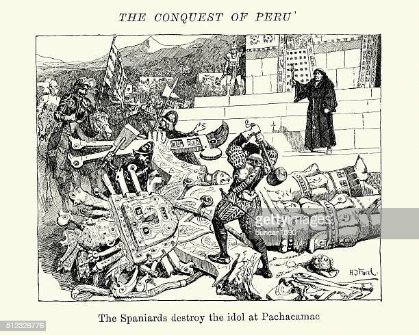 conquest of peru - conquistadors destorying inca idols - spanish culture stock illustrations