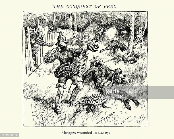 conquest of peru diego de almagro wounded in the eye - inca stock illustrations, clip art, cartoons, & icons