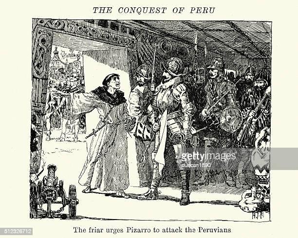 ペルーの修道士による征服のリラクゼーションを攻撃ピサーロ - 16世紀のスタイル点のイラスト素材/クリップアート素材/マンガ素材/アイコン素材