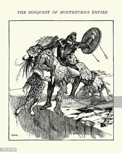 ilustraciones, imágenes clip art, dibujos animados e iconos de stock de conquistador contra un azteca jaguar guerrero - jaguar
