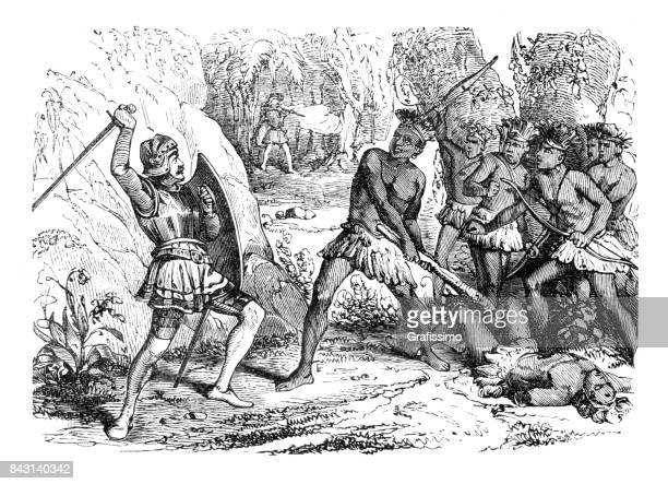 conquistador pizarro in battle between aztec and spanish troups 1863 - indian costume stock illustrations, clip art, cartoons, & icons